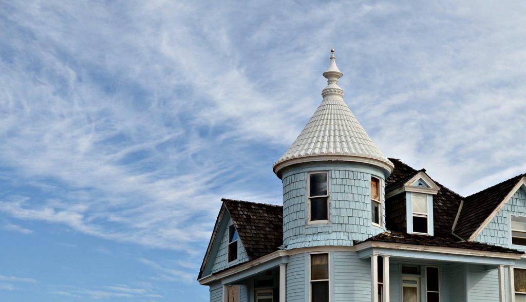 Turret Round Tower on Victorian Mansion