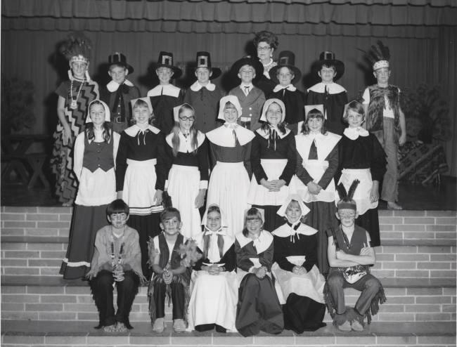 Thanksgiving Play, Purple Sage Elementary School, Kermit, Texas, 1970s