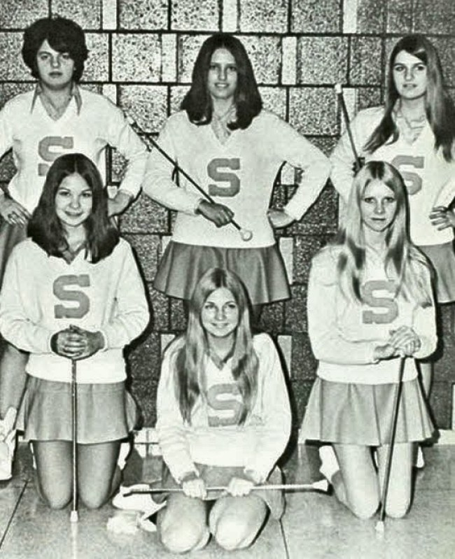 Baton Twirlers in Letter Sweaters. 1970s. I love this look. It's so Americana.