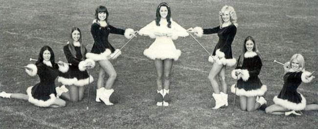 Baton twirlers in velvet and maribu, 1970s
