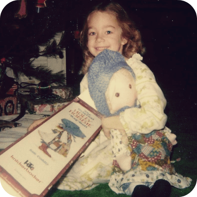 1978, Kelly Anne at Christmas with her Holly Hobbie doll.