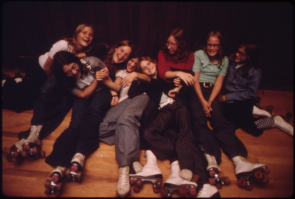 Pictures of Gen-Xers roller skating in 1975