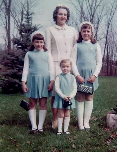 Mom with Daughters in matching light blue jumpers, Easter 1967