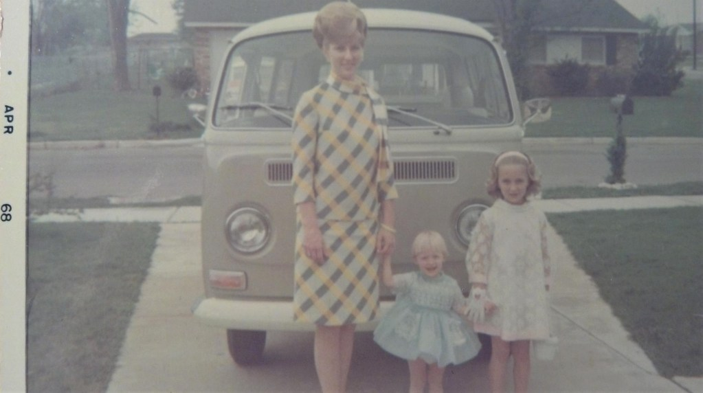April 1968 Mother with young daughters VW Van