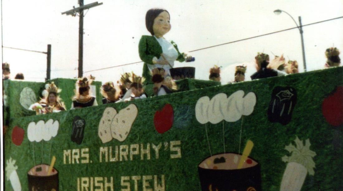 Metairie Road St. Patrick's Day Parade, New Orleans featured Mrs. Murphy's Irish Stew float, 1977.