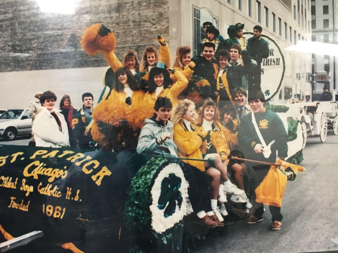St Patricks Day Parade, St. Patrick Catholic High School, Chicago, Illinois, 1986