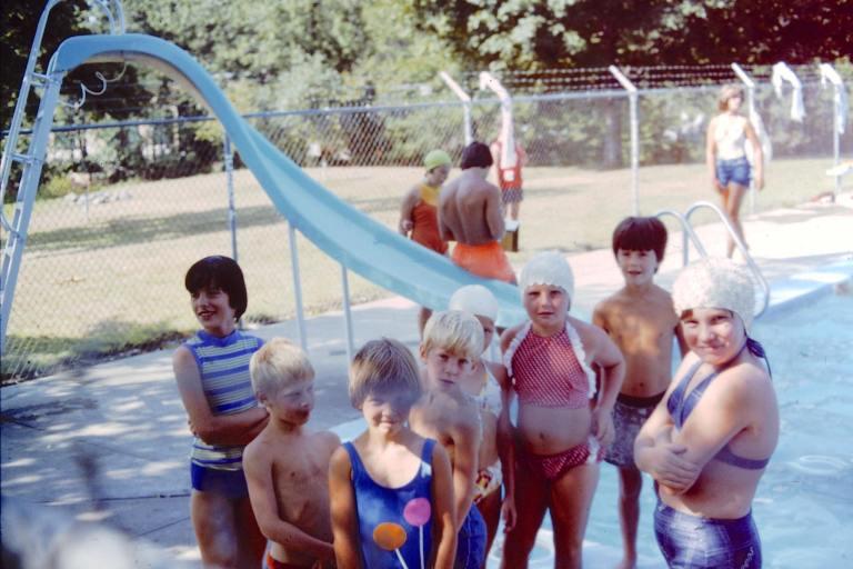 1970s Swimming Pool | Kids in Swim Caps
