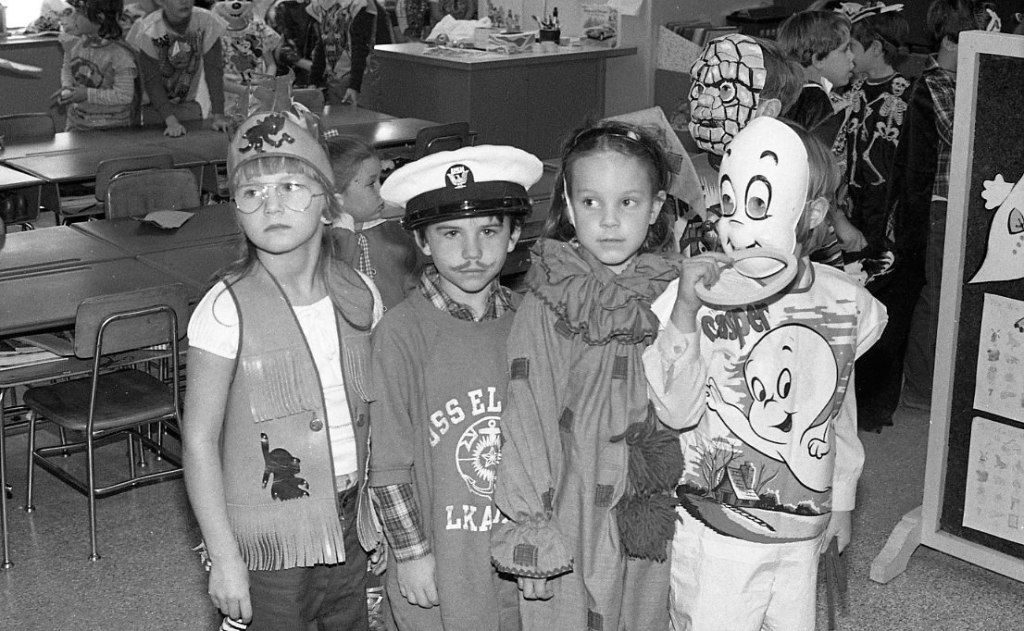Halloween 1979 | It looks like the kid on the far left is dressed up like John Denver. We also have a sailor, a clown and Casper!