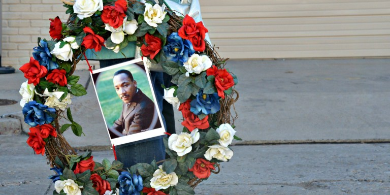 Martin Luther King Jr Memorial Wreath WIth MLK Picture