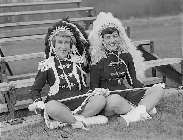 Majorettes in Native American Headdress