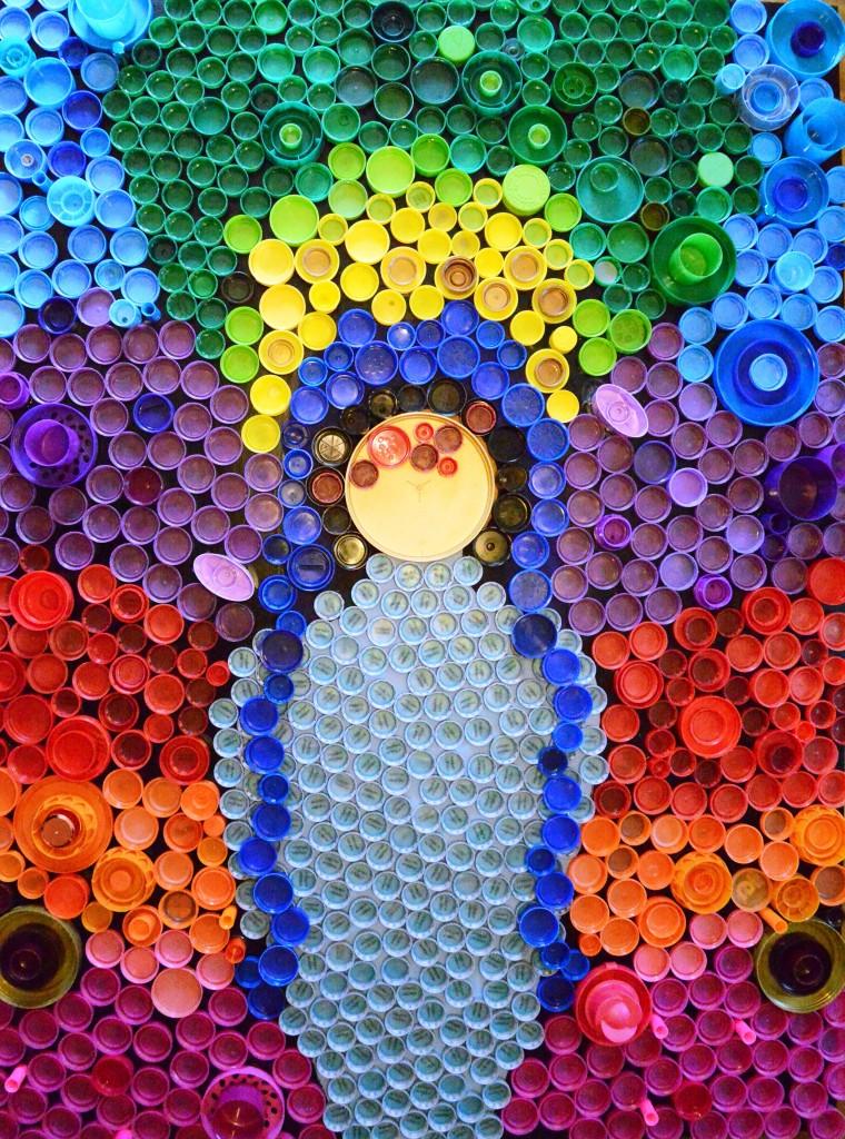 Plastic Bottle Cap Art Mary