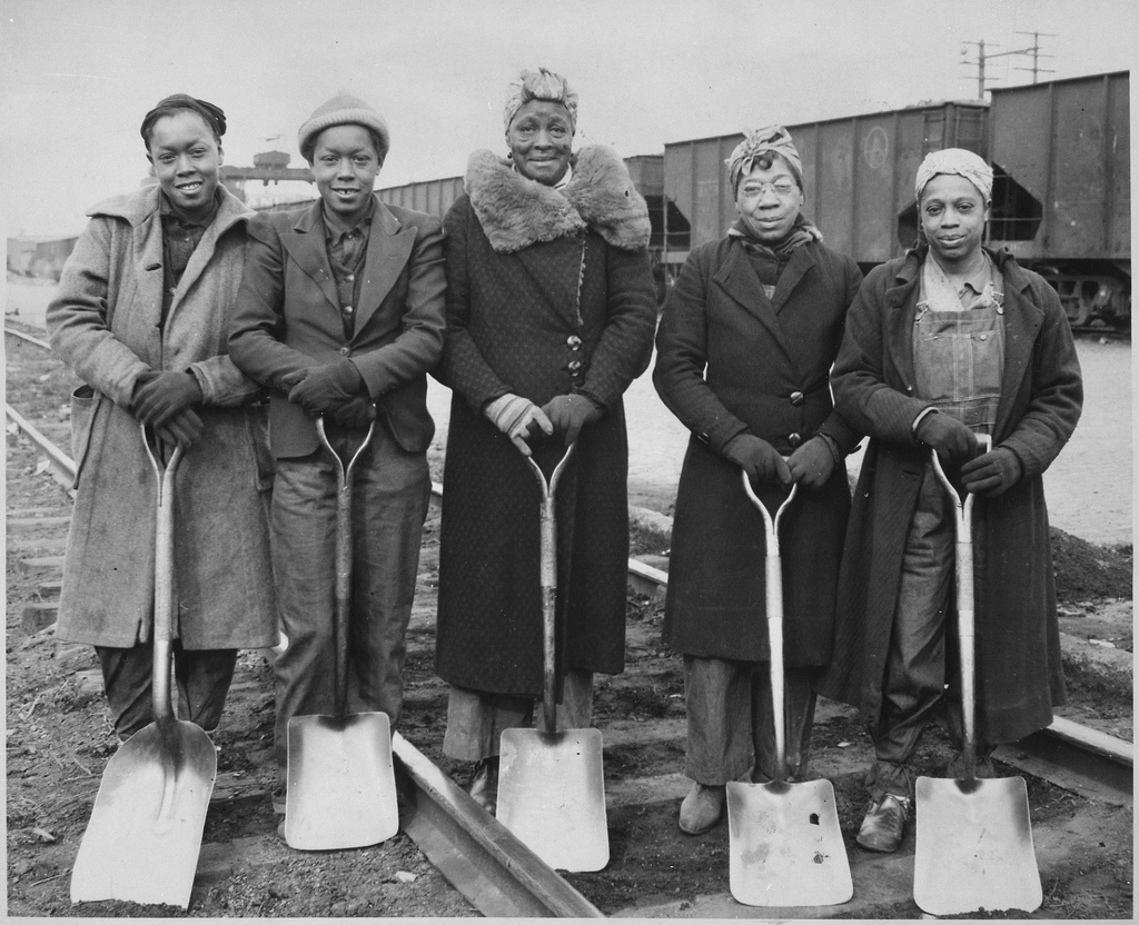 Trackwomen, 1943. Baltimore & Ohio Railroad Company, 1940 - 1945