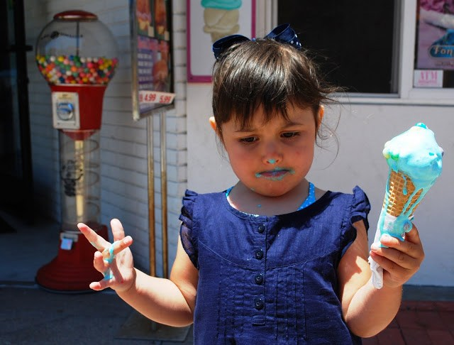Little girl covered with melted ice cream Newport Beach, California
