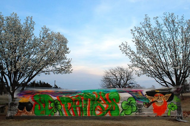 St Patrick's Day graffiti using cellophane