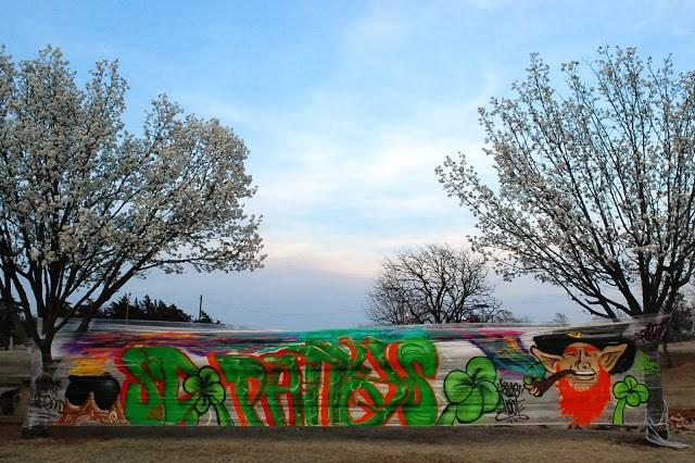 St Patrick's Day graffiti using cellophane