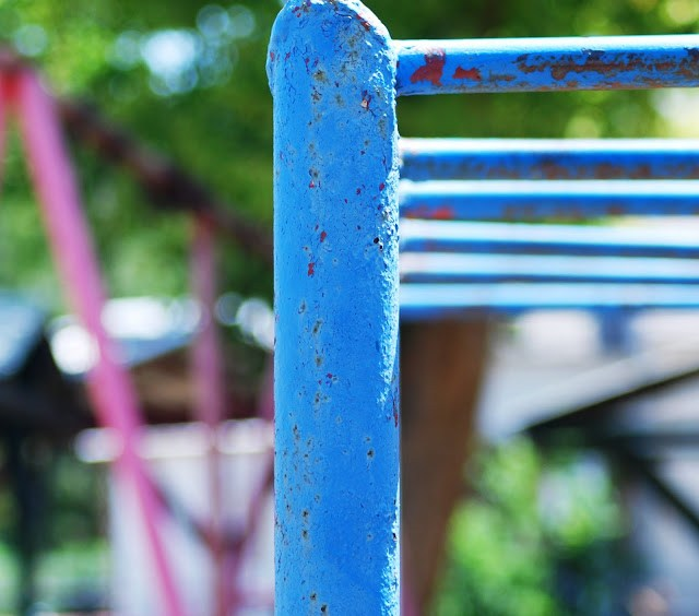 Old Slide on a playground old monkey bars