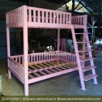 Jual Dipan Tingkat Anak Warna Pink Minimalis Kayu Jati BSD City