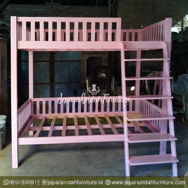 Jual Dipan Tingkat Anak Warna Pink Minimalis Kayu Jati Tangerang
