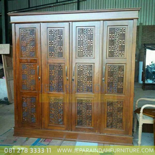 Jual Lemari Pakaian 4 Pintu Minimalis Model Kawung