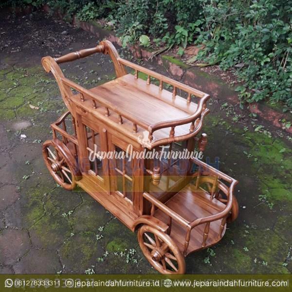 Harga Jual Meja Teh Model Trolley Ukir Jati Jepara