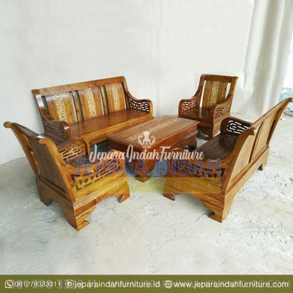 Harga Jual Set Kursi Tamu Jati Sarang Semut Minimalis Klasik (LRF SKT 031)