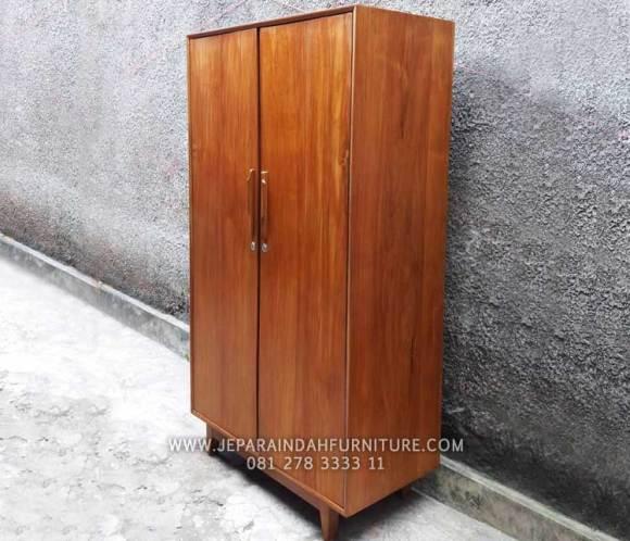 Lemari pakaian 2 pintu kayu jati minimalis model mid-century