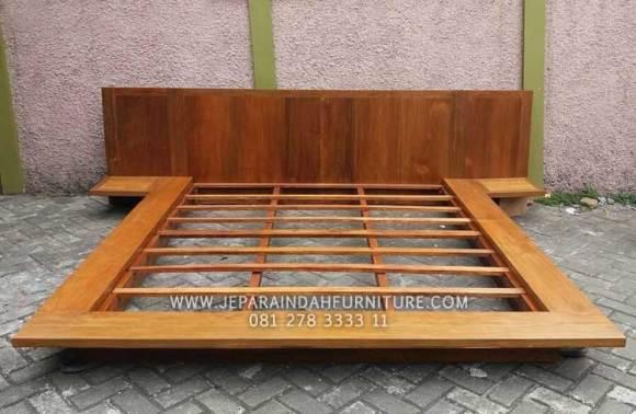 Tempat tidur anak kayu jati minimalis model panggung modern