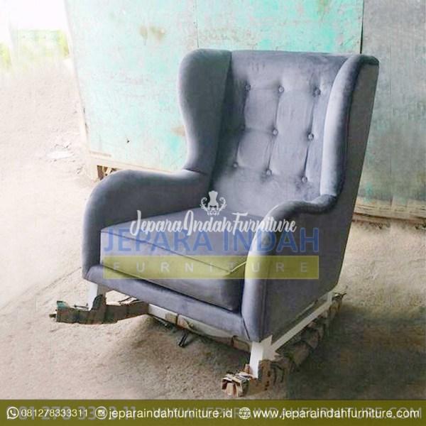 LRF KSM 010 Kursi Sofa Goyang Minimalis Finishing Duco Putih