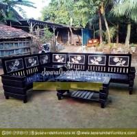 LRF KTS 011 Set Kursi Sudut Antik Warna Hitam
