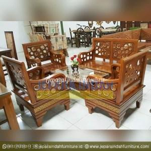 LRF SKT 034 Set Kursi Tamu Kayu Jati Model Donat Terbaru