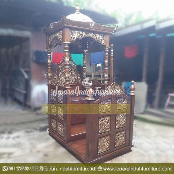BKF MPD 001 Mimbar Masjid Kayu Jati Ukir Jepara Mewah