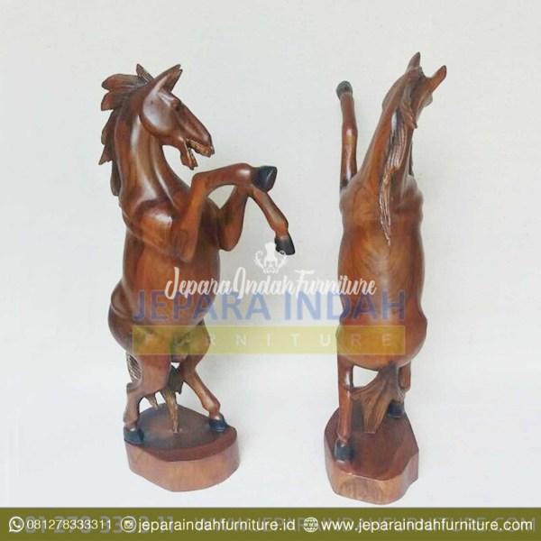 HDC AHR 001 Patung Kuda Jingkrak Kayu Jati Untuk Hiasan Rumah
