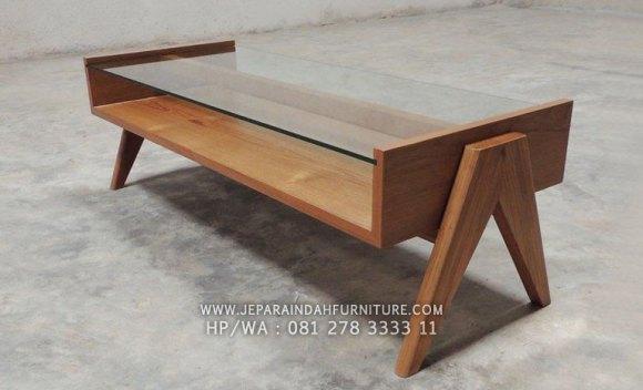 Meja tamu minimalis kayu jati model terbaru