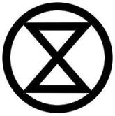 sablier extinction rebellion croix de saint-andré