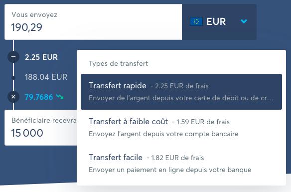 Calcul des frais pour un transfert international avec Transferwise