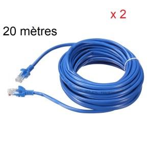20 mètres câble réseau fois 2