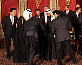 U.S. President Obama bowing to Saudi King Abdullah