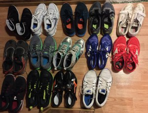 A visual of how many shoes I will go through leading up to Rio!