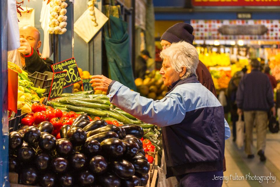 Elderly Couple Shopping in Market In Budapest Hungary