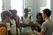 Jeremy talks with prospective engineering students at BlueStamp Engineering