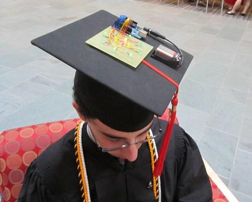 Wearing my light-up Graduation Cap