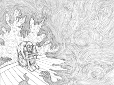 Illustration au crayon d'une nouvelle (travail d'école).