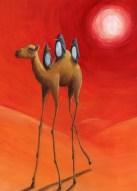 Illustration à l'acrylique d'un article sur le réchauffement climatique (travaux d'école).