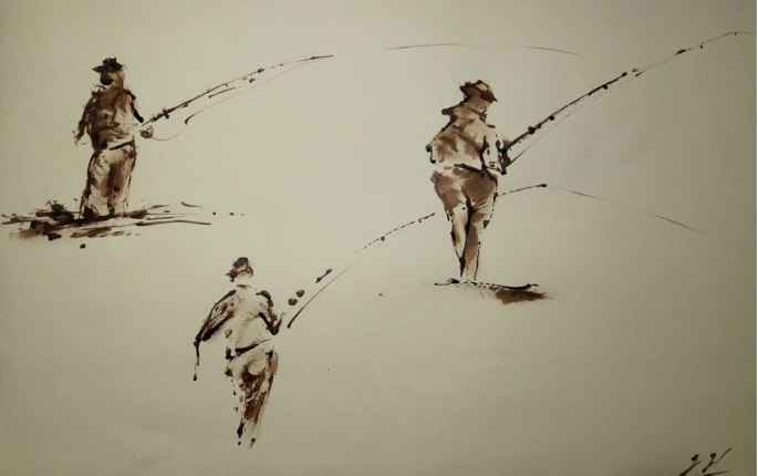 "Fishing sketch 18""x 16"""