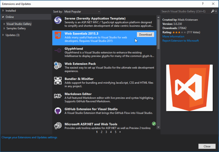 Extensions and Updates - Microsoft Visual Studio