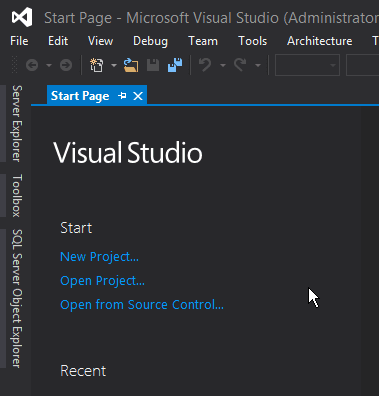 visual-studio-start-page