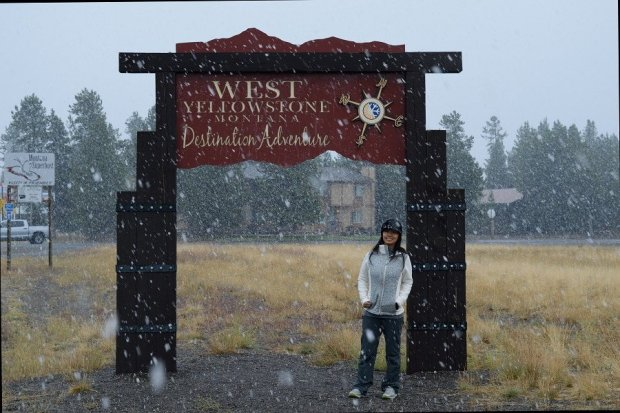 Linda in Front of Yellowstone Sign