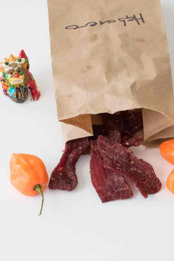 The best beef Jerky in paper bag with habaneros