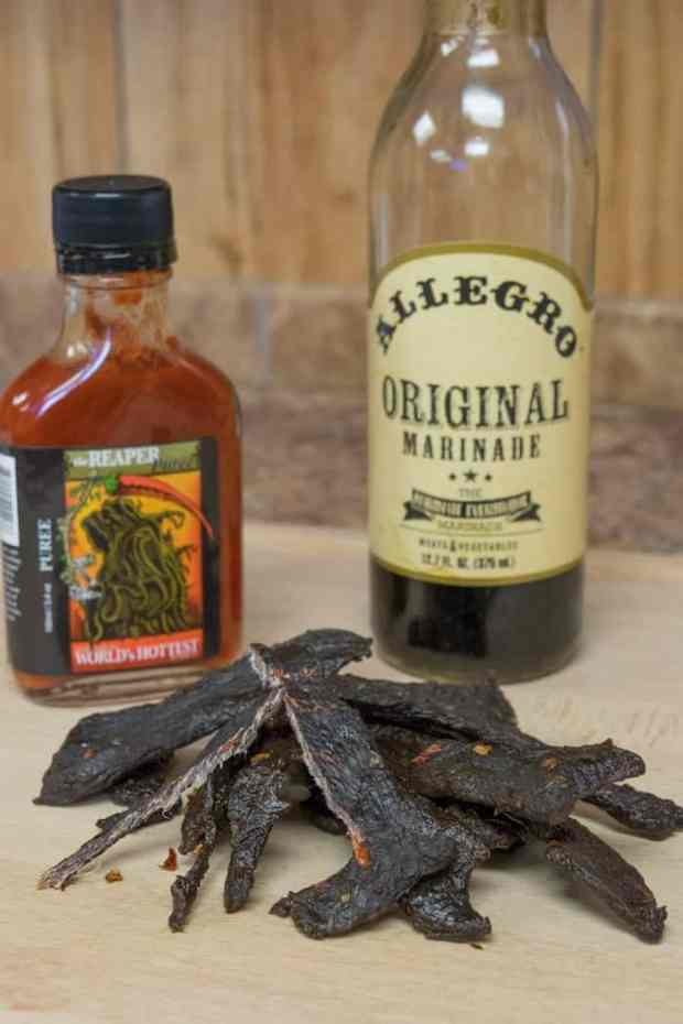 Elk Jerky displayed with its ingredients