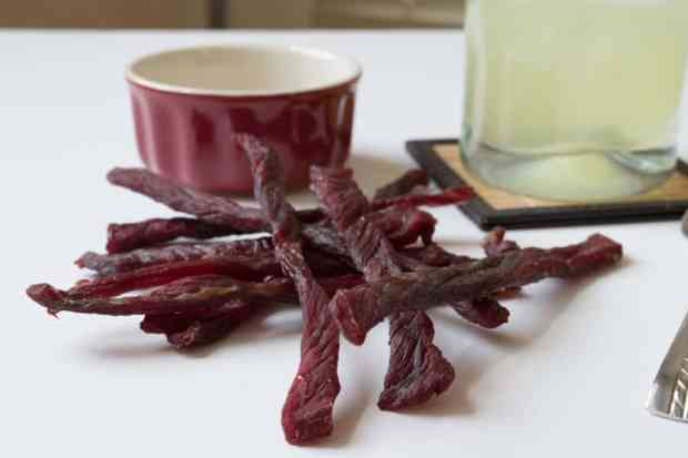Margarita Beef Jerky with drink and sugar